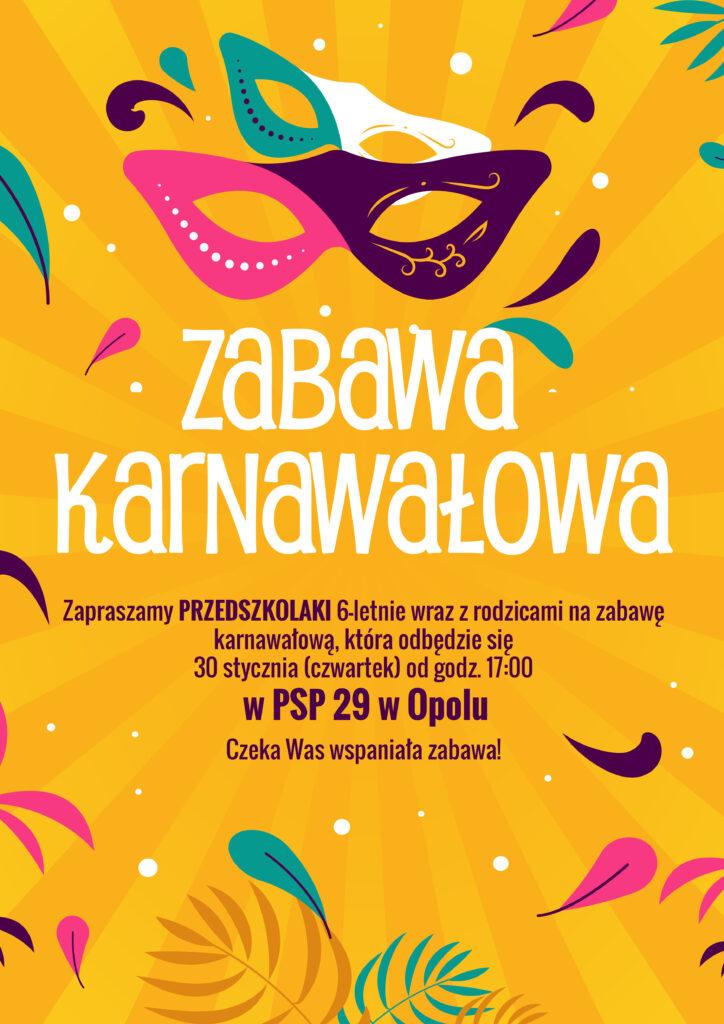 Zabawa karnawałowa dla przedszkolaków, 30 stycznia, godz. 17.00