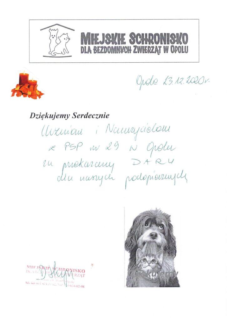 Dziękujemy serdecznie za przekazanie darów dla naszych podopiecznych Miejskie Schronisko dla Bezdomnych Zwierząt w Opolu