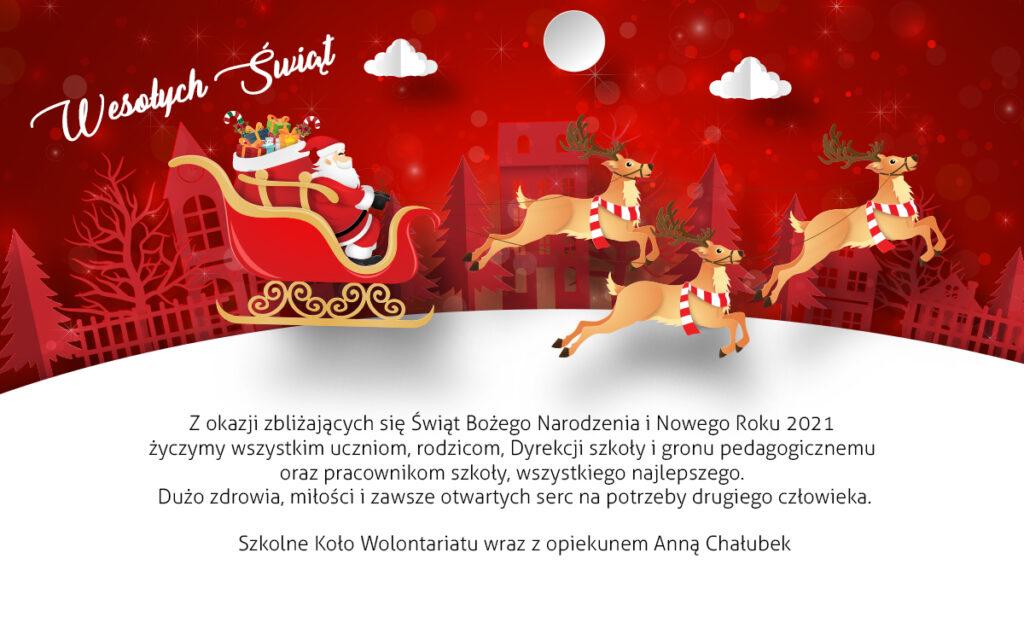 Z okazji zbliżających się Świąt Bożego Narodzenia i Nowego Roku 2021 życzymy wszystkim uczniom, rodzicom, Dyrekcji szkoły i gronu pedagogicznemu oraz pracownikom szkoły, wszystkiego najlepszego.