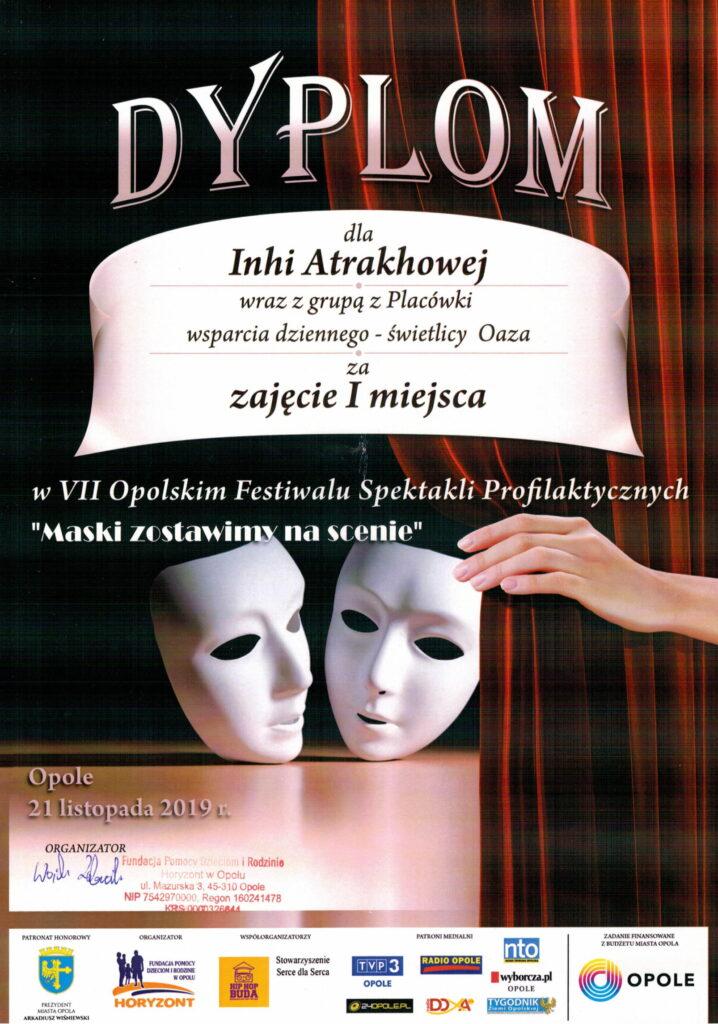 I miejsce dla Inhi Atrakhowej w VII Opolskim Festiwalu Spektakli Profilaktycznych